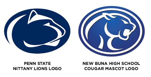 Penn State Nitanny Lions Logo vs. New Buna High School Cougars Logo